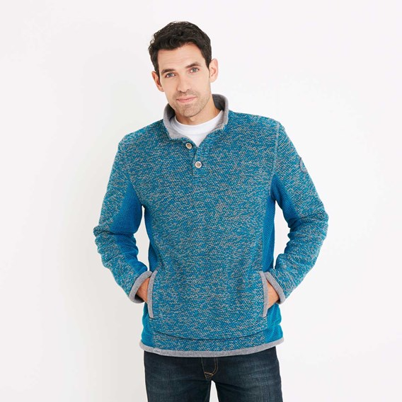 Makepeace Button Neck Active Macaroni Sweatshirt Blue Jay