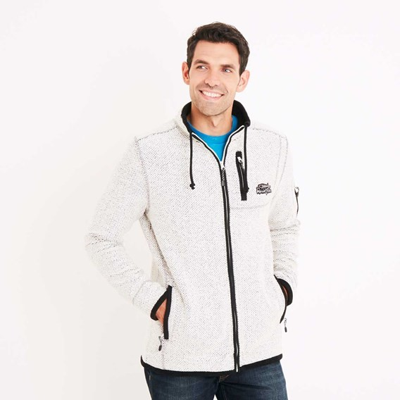 Teris Full Zip Technical Macaroni Sweatshirt Ecru