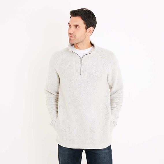 Helm 1/4 Zip Siera Knit Sweatshirt Soft Grey