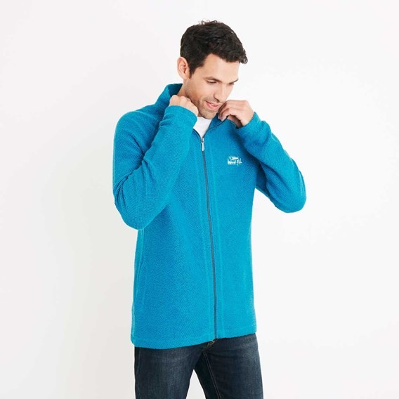 Helmstead Full Zip Zip Seira Knit Blue Jay