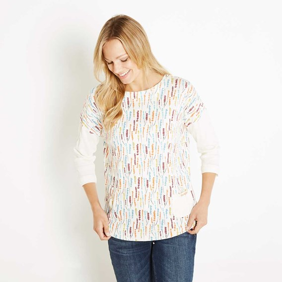 Benita Printed Raised Pique Stripe T-Shirt Light Cream