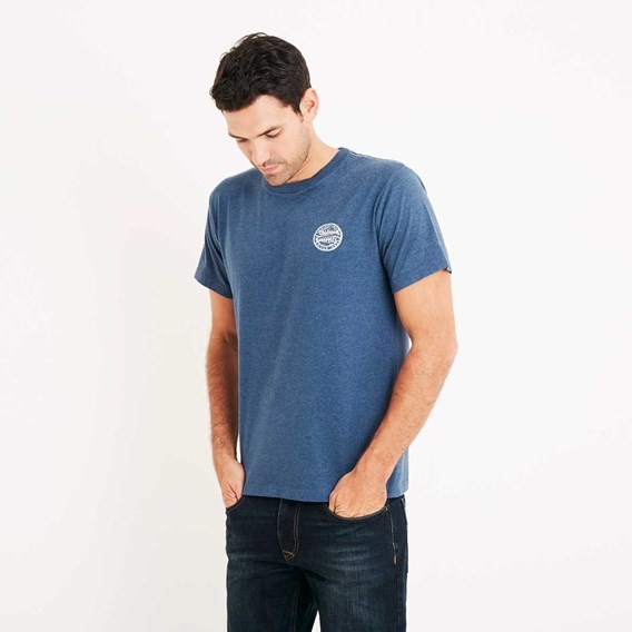 Heritage Surf Graphic Print T-Shirt Ensign Blue Marl