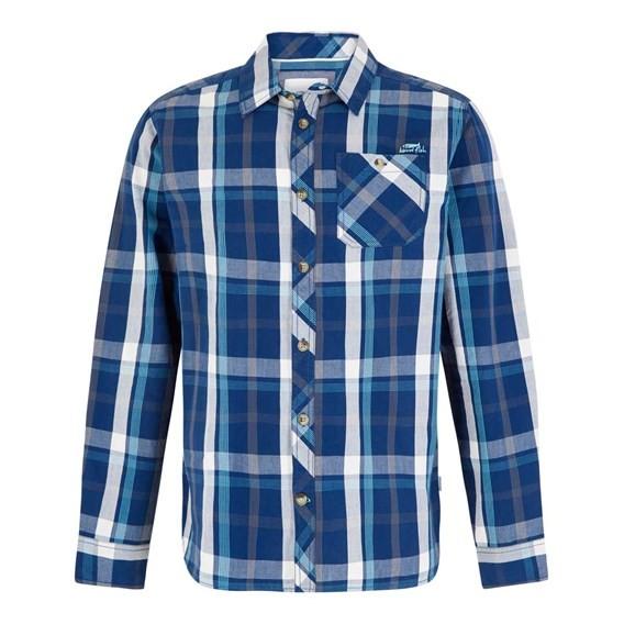 Ezra Lightweight Core Long Sleeve Check Shirt Estate Blue