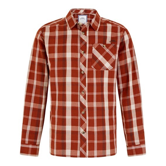 Ezra Lightweight Core Long Sleeve Check Shirt Burnt Henna