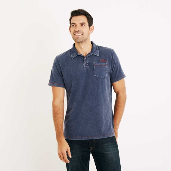Morrison Garment Dyed Polo Shirt Estate Blue