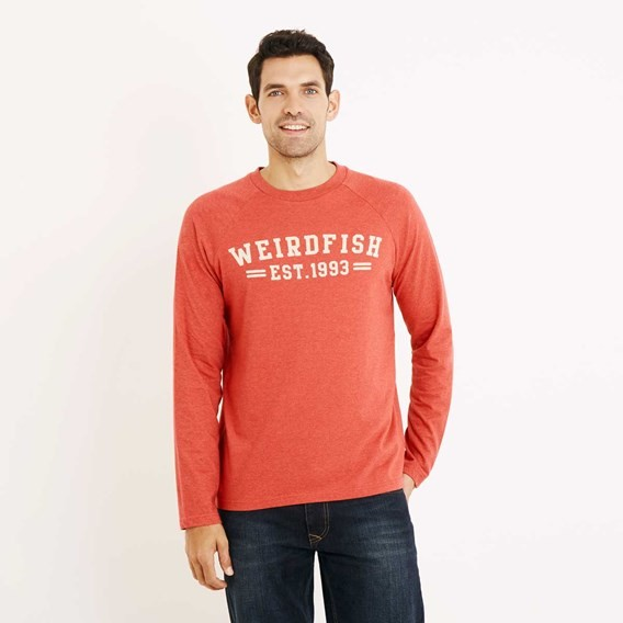 Afflek Long Sleeve Graphic Print T-Shirt Barberry Red Marl