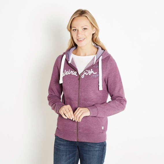 Polly Full Zip Applique Hoodie Mulberry