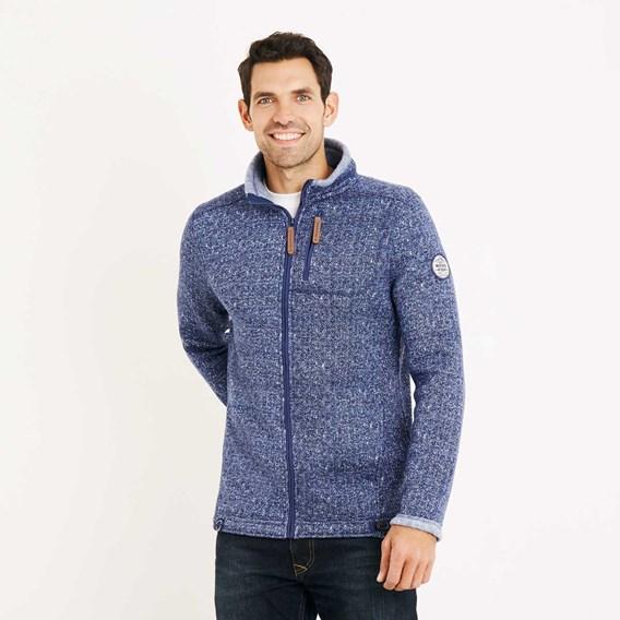 Staten Herringbone Soft Knit Jacket Estate Blue