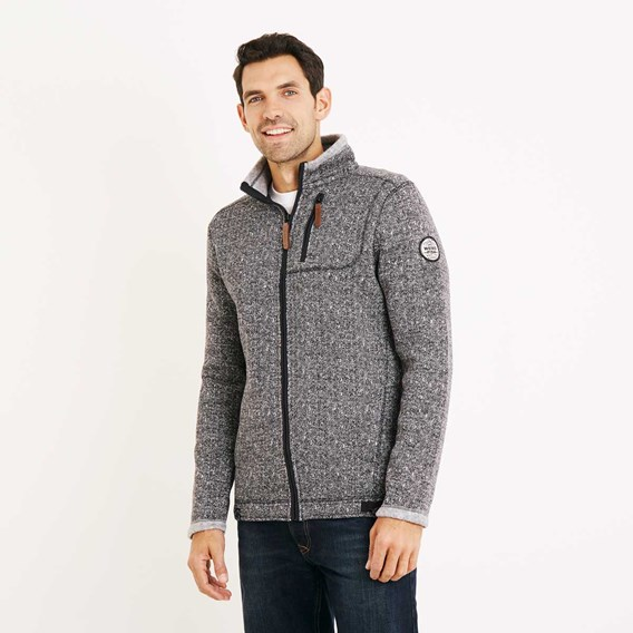 Staten Herringbone Soft Knit Jacket Black
