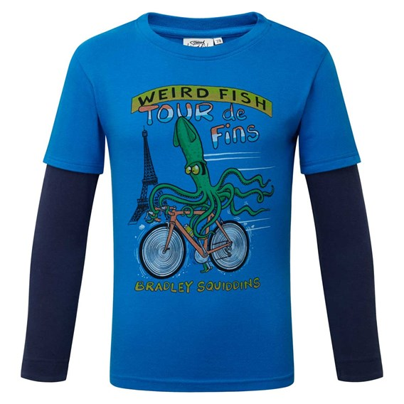 Squid Long Sleeve Graphic Print T-Shirt Skydiver Blue