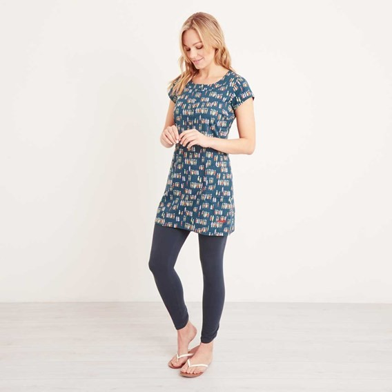Alanis Printed Stretch Tunic Navy