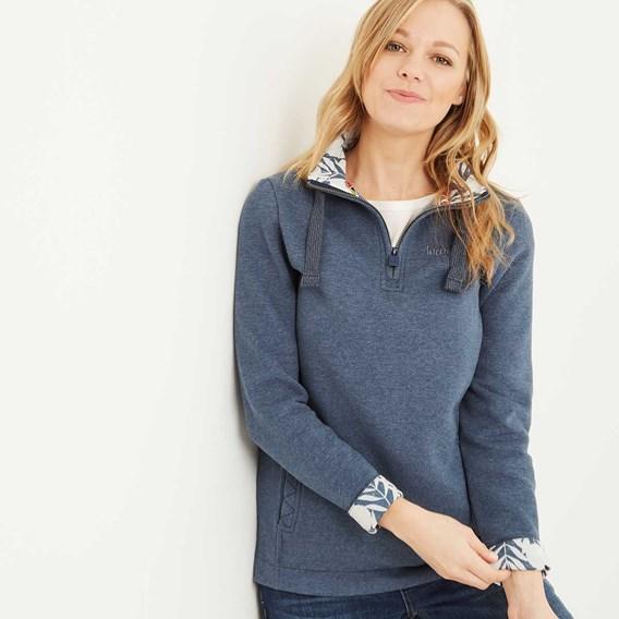 Bina 1/4 Zip Print Lined Sweatshirt Dark Denim