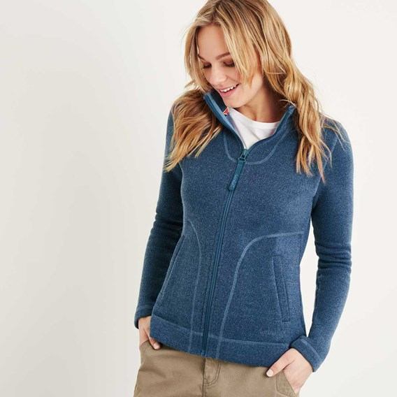 Galata Soft Knit Full Zip Fleece Top Dark Denim