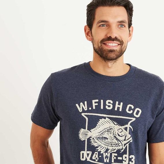 Skeleton Graphic Print T-Shirt Maritime Blue Marl