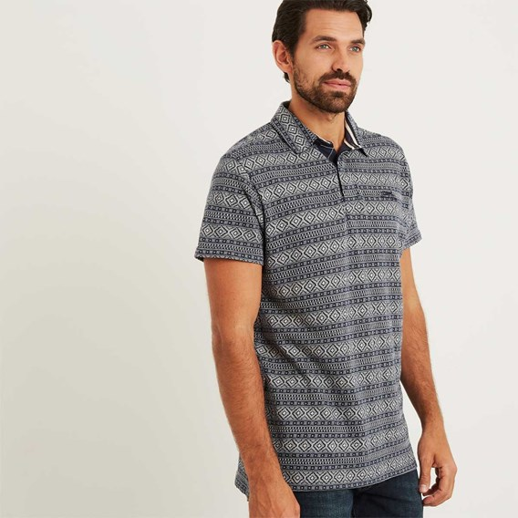 Janssen Pigment Dyed Stripe Polo Maritime Blue