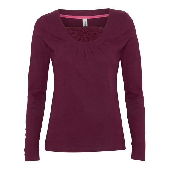 Ersa Long Sleeve Top With Crochet Detail Burgundy