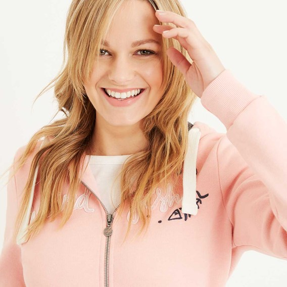 Polly Full Zip Applique Hoodie Coral Pink