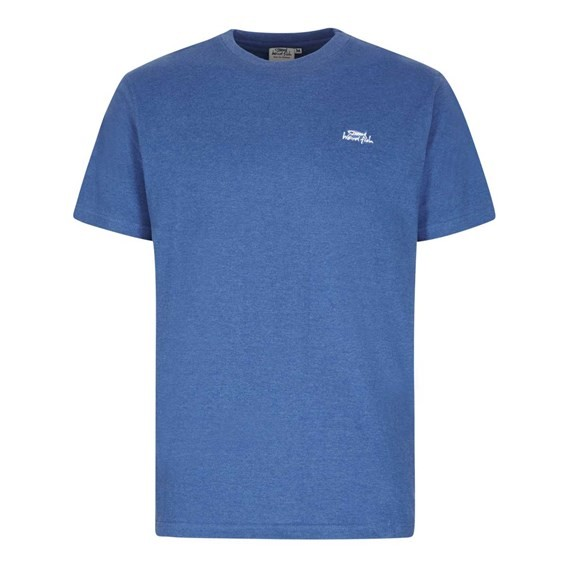 Bones Embroidered Logo Classic Plain T-Shirt Deep Ocean Marl