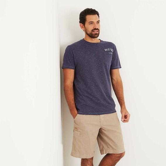 Yorke Garment Dyed Striped T-Shirt Maritime Blue