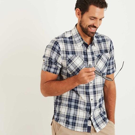 Palazzi Seersucker Short Sleeve Check Shirt Maritime Blue