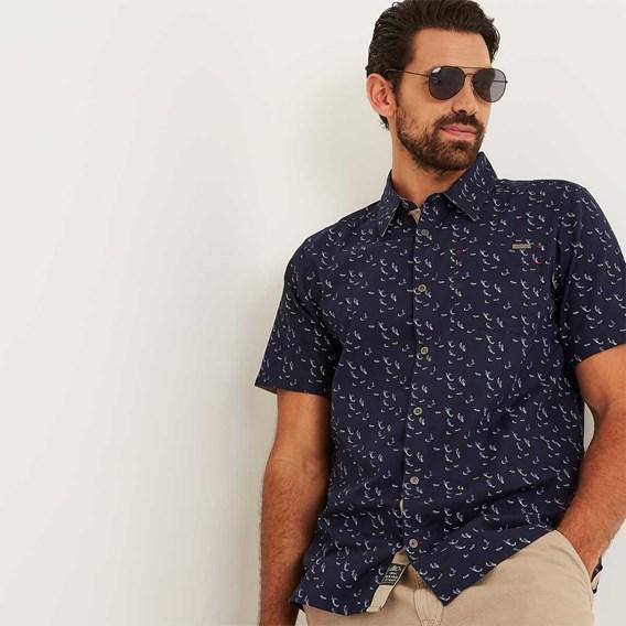 Wade Micro Print Herringbone Short Sleeve Shirt Maritime Blue