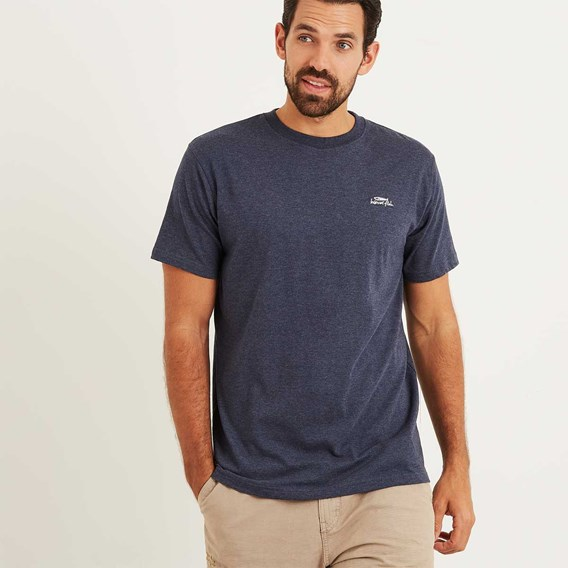 Bones Embroidered Logo Classic Plain T-Shirt Maritime Blue Marl