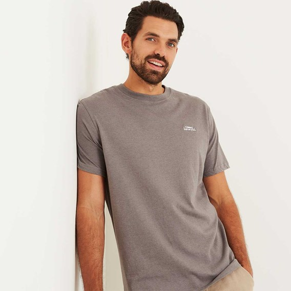 Bones Embroidered Logo Classic Plain T-Shirt Pewter Marl