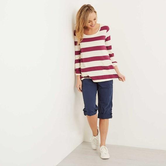 Ajay Cotton Slub Stripe Long Sleeve T-Shirt Boysenberry