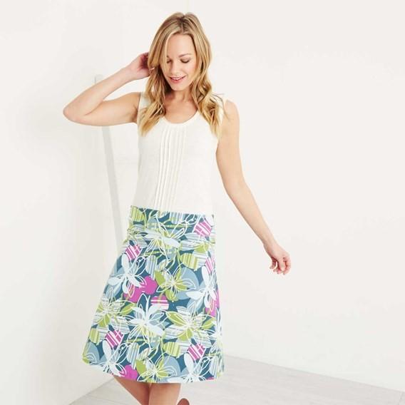 Malmo Printed Jersey Skirt Petrol Blue