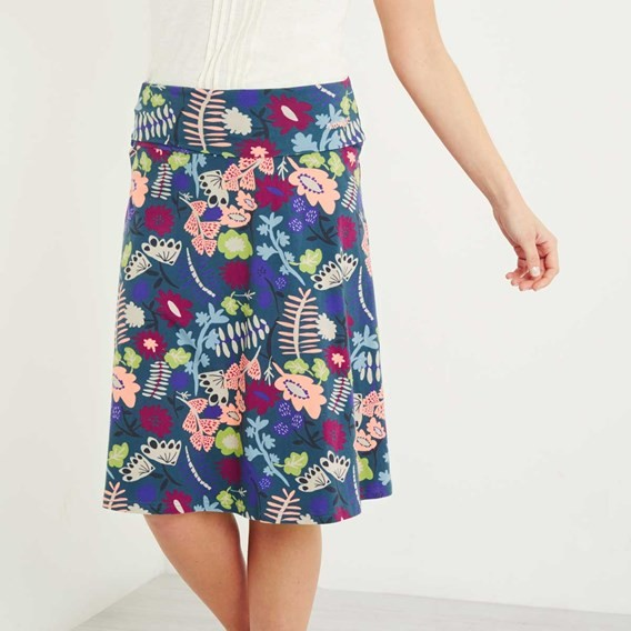 Malmo Printed Jersey Skirt Dusty Teal