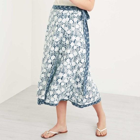 Shana Reversible Printed Midi Wrap Skirt Dark Denim