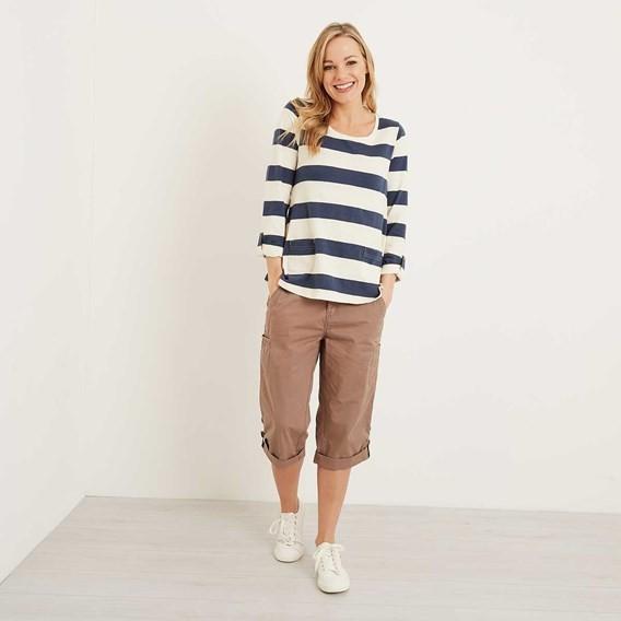 Savannah Cotton 3/4 Length Utility Trouser Walnut