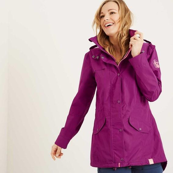 Avesta Print Lined Fully Waterproof Hooded Jacket Boysenberry