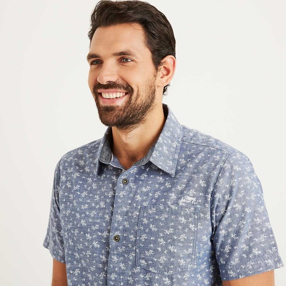 Niven Floral Print Short Sleeve Shirt Denim