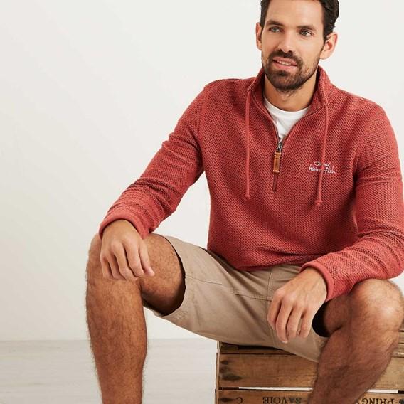 Skipper 1/4 Zip Classic Macaroni Sweatshirt Brick Red