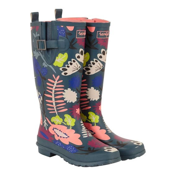 Sazi Printed Welly Dusty Teal