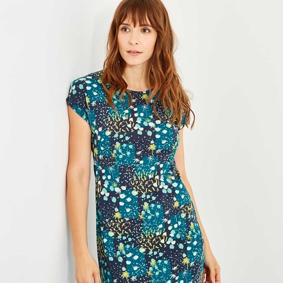 Tallahassee Printed Cotton Jersey Dress Blue Sapphire