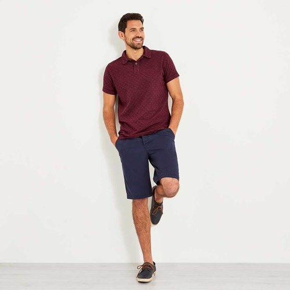 Herger Pigment Dyed Stripe Polo Brick Red