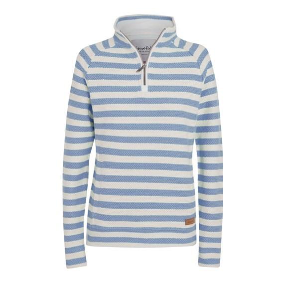 Wren Striped ¼ Zip Macaroni Sweatshirt Faded Denim
