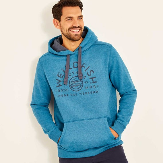 Bellicose Graphic Print Brushed Back Hoodie Blue Jay