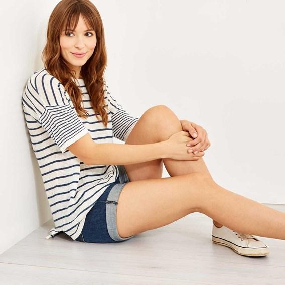 Roberta Striped Linen Dropped Shoulder Jumper Light Cream