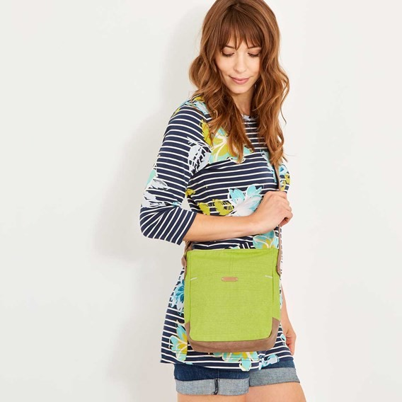 Betti Cotton Cross Body Bag Lime