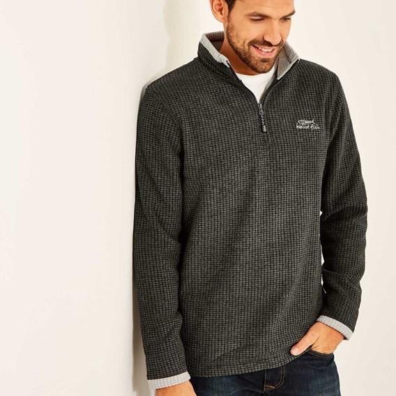 Ferdy 1/4 Zip Grid Fleece Charcoal
