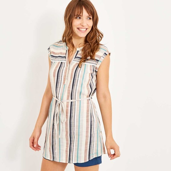 Latitude Woven Stripe Tunic Light Cream