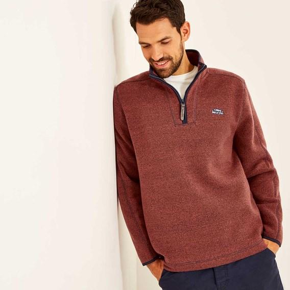 Talas 1/4 Zip Soft Knit Top  Brick Red