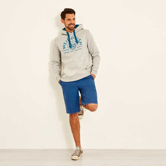 Bellicose Graphic Print Brushed Back Hoody Grey Marl