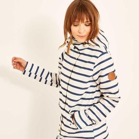 Charlize Striped Shower Resistant Jacket Light Cream