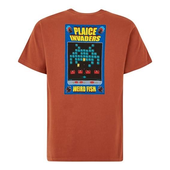 Plaice Invaders Artist Tee Brick Orange