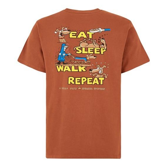 Eat Sleep Walk Artist Tee Brick Orange