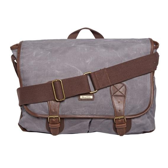 Tristan Waxed Canvas Messenger Bag Grey